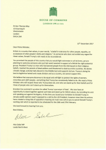 Alex Sobel MP Alex Sobel coordinates letter Theresa May condemning